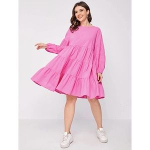 Shein Pink Longsleeve Smock dress